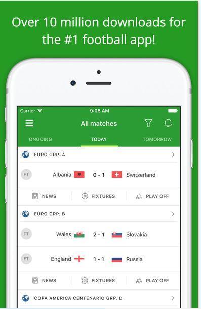 Migliori app risultati calcio iPhone e Android