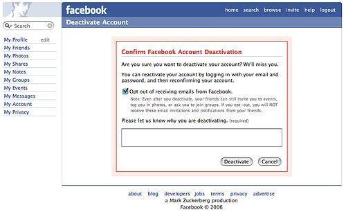 elimina profilo facebook