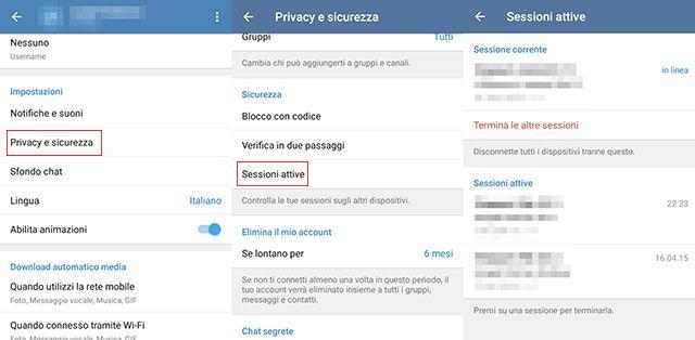 Come controllare le sessioni attive su Telegram
