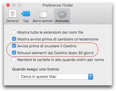 Come eliminare i file dal cestino su Mac automaticamente 30 giorni