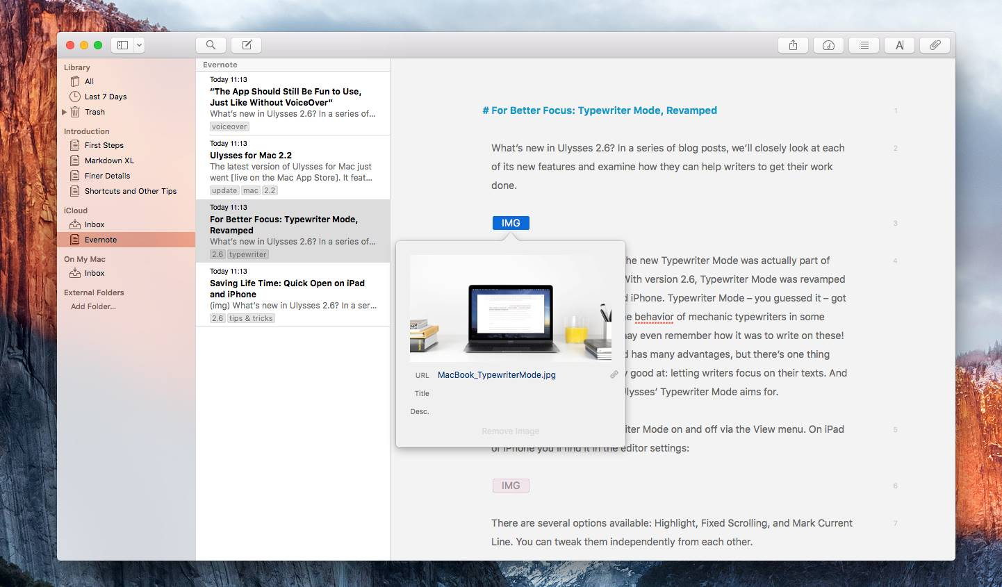 note Ulysses Mac Evernote