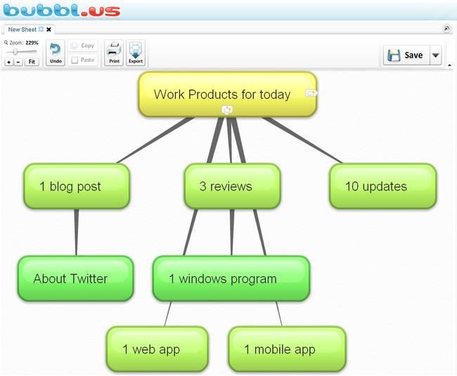 Bubbl.us mappe cognitive online