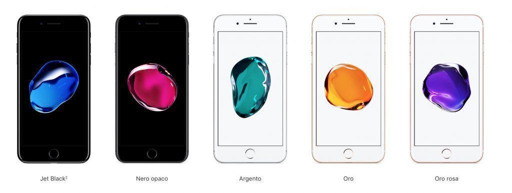 Colorazioni disponibili iPhone 7 Plus