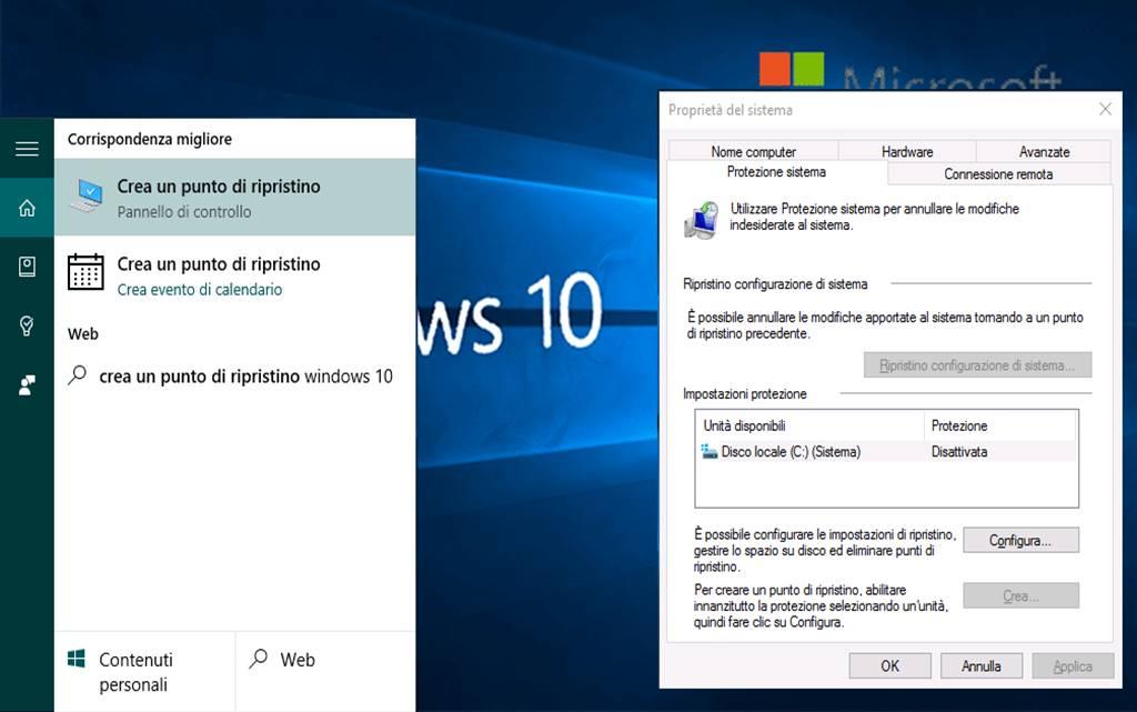 Come creare punto di ripristino su Windows 10 guida