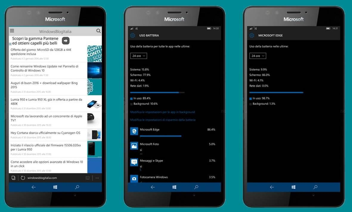 Windows 10 Mobile batteria