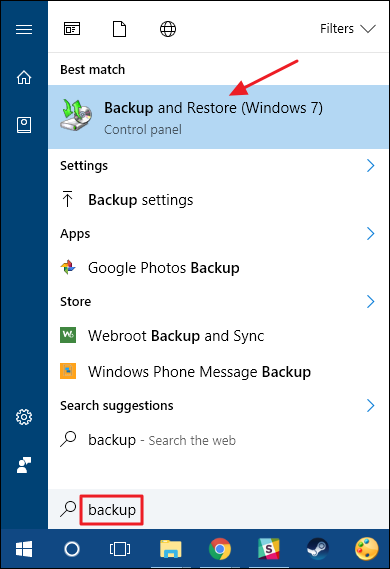 backup e ripristino con windows 7