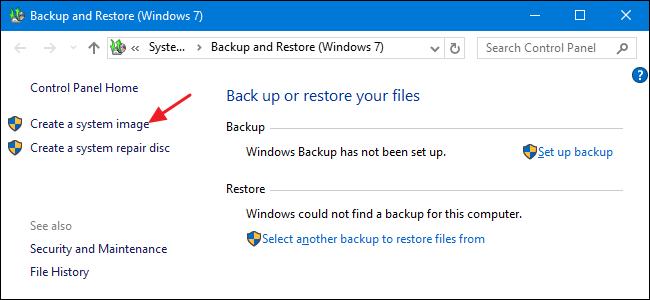 creare immagine di backup