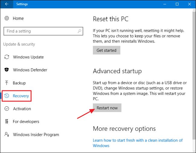 opzioni avanzate di ripristino di windows 10