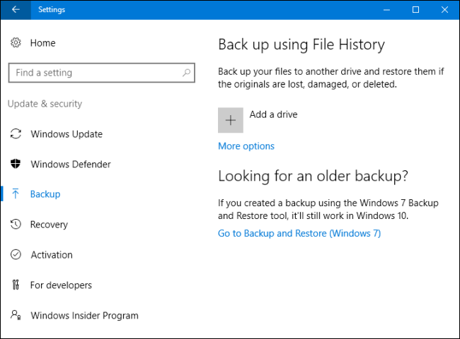 ripristino windows 10 con file history