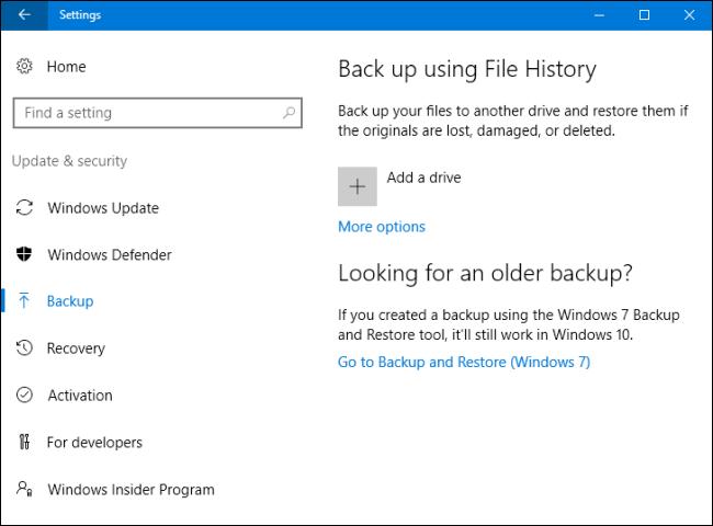 ripristino windows 10 con file history