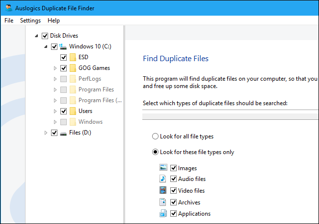 trovare e cancellare file duplicati su windows 10 con Auslogics Duplicate File Finder