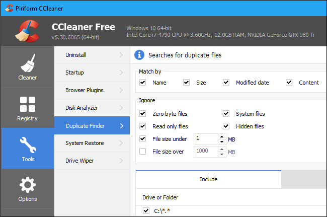 найти и удалить повторяющиеся файлы в Windows 10 с помощью ccleaner