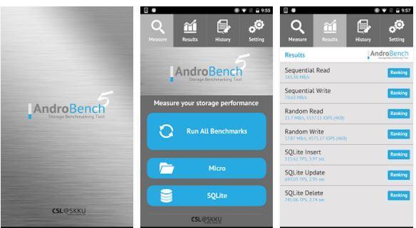 Huawei P10 memoria Androbench Storage Benchmark