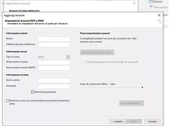 configurare aruba mail con outlook - 2