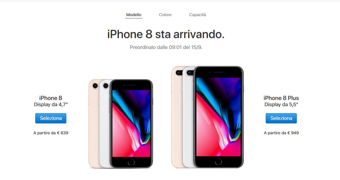 dettaglio prezzi iphone 8 iphone 8 plus