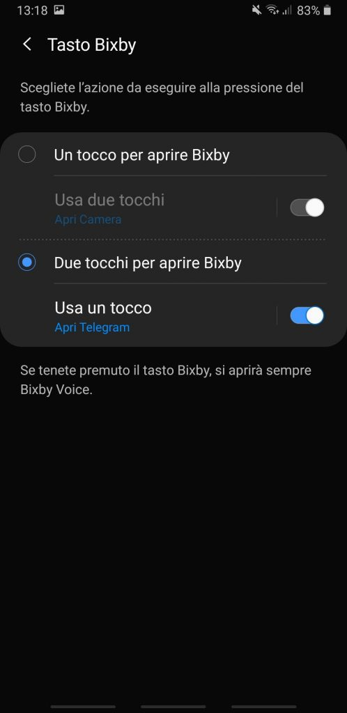 personalizzare il tasto Bixby - passaggio 4 - uno o due tocchi