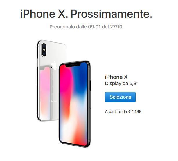 prezzi e disponibilità iphone x in Italia