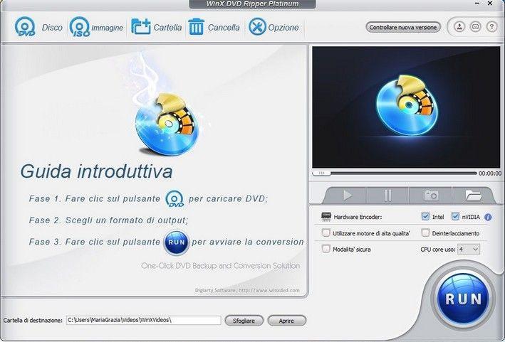 WinX-DVD-Ripper-Platinum schermata principale e funzioni