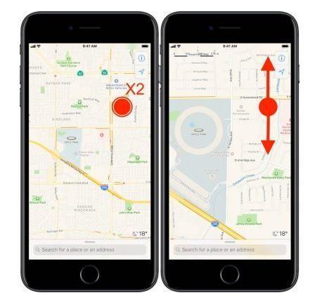 iOS 11, come usare zoom a una mano su Mappe di iPhone