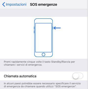 iOS 11 telefonata carabinieri SOS Emergenze