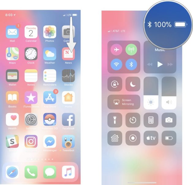 Come visualizzare la percentuale batteria su iPhone X