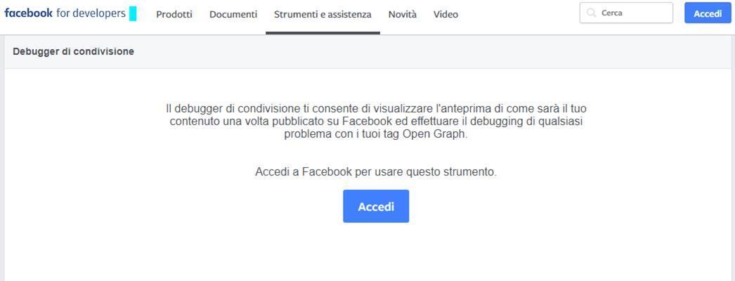Facebook, come ripulire la cache Debugger Tool