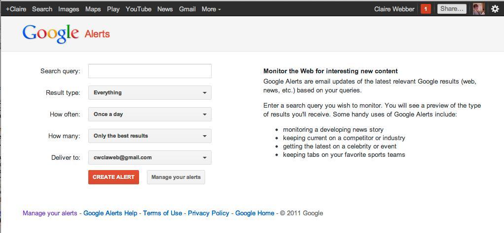 impostazioni per gli avvisi di Google Alert