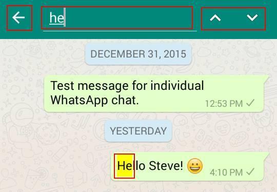WhatsApp cerca messaggi parole chat