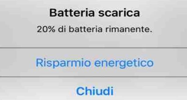 risparmio energetico 20% di batteria rimanente iOS iPhone