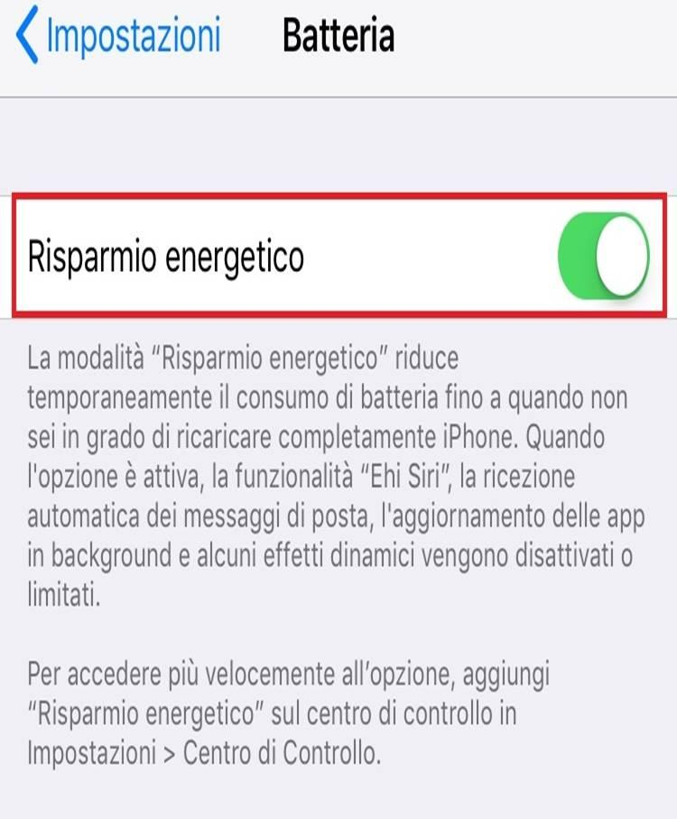 risparmio energetico iOS 11