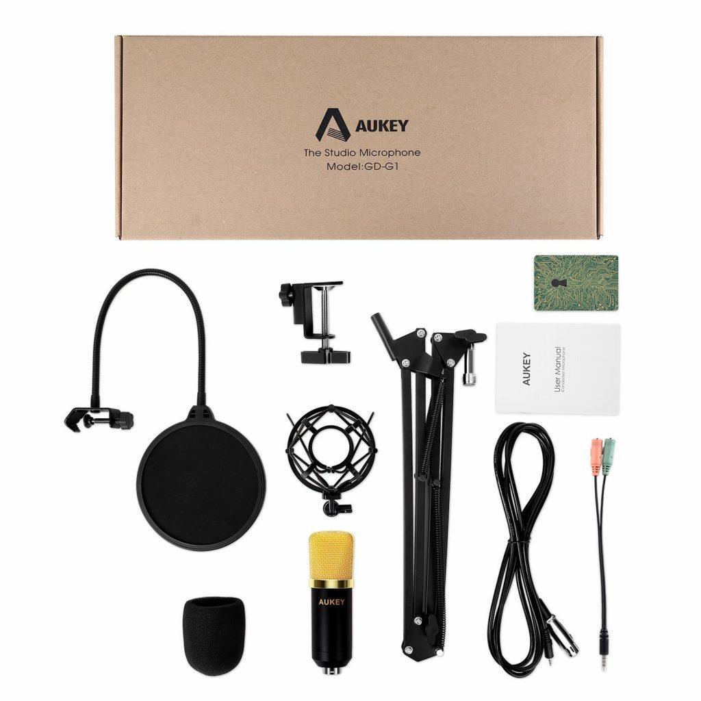 AUKEY Microfono a Condensatore contenuto confezione_