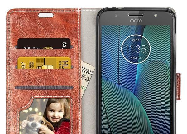 Cover per Lenovo Moto G5S Plus: Cover RIFFUE in cuoio sintetico e porta foto