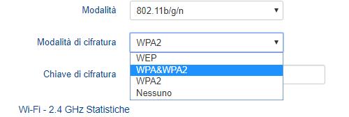 livello di cifratura WPA WPA2