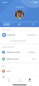 amazfit bip - app profilo