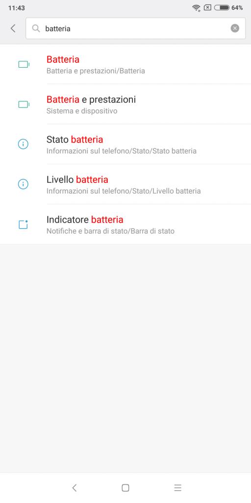 xiaomi percentuale batteria - passaggio 2 - batteria