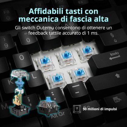 Tastiera Meccanica Gaming Tronsmart TK09R - switch blu