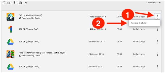 Come ottenere un rimborso dal Google Play Store