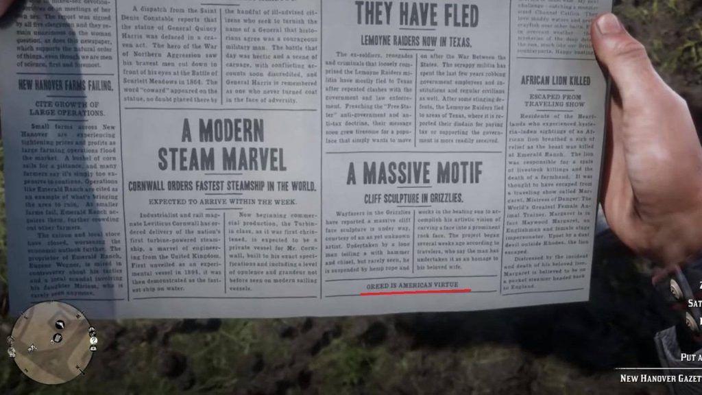 Trucchi Red Dead Redemption 2 - esempio di trucco sul giornale
