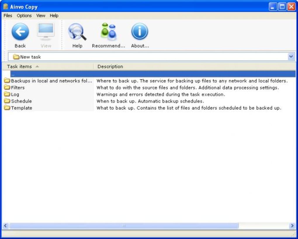 La schermata principale del software di Windows per backup chiamato Ainvo Copy