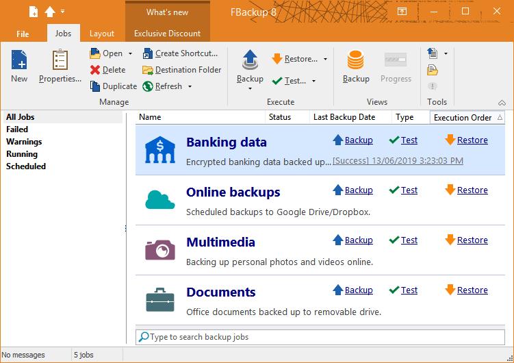 L'ottimo software FBackup, disponibile per Windows