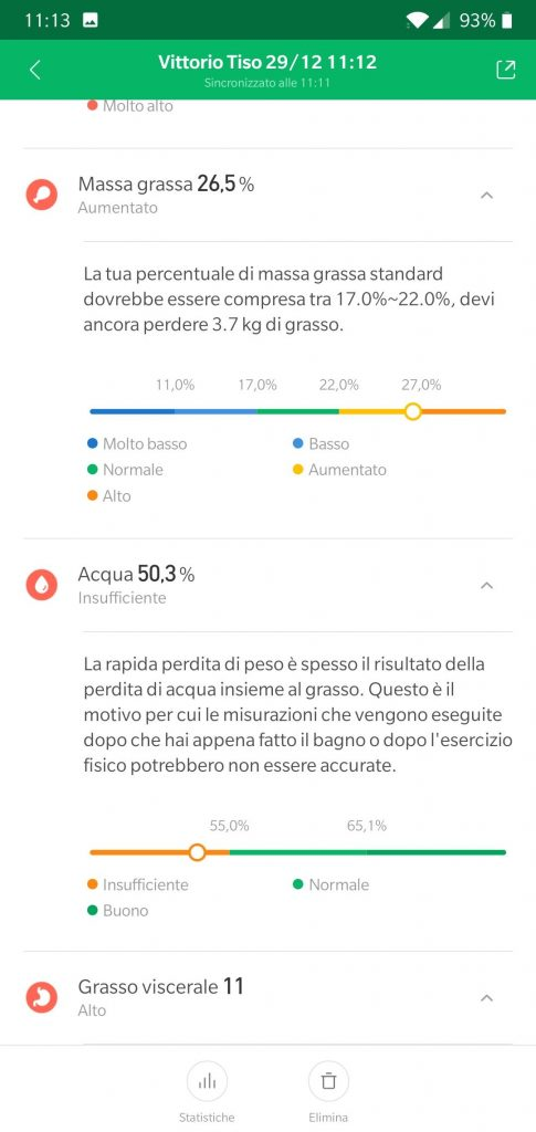 Recensione Xiaomi Mi Body Composition Scale mi fit dati 2