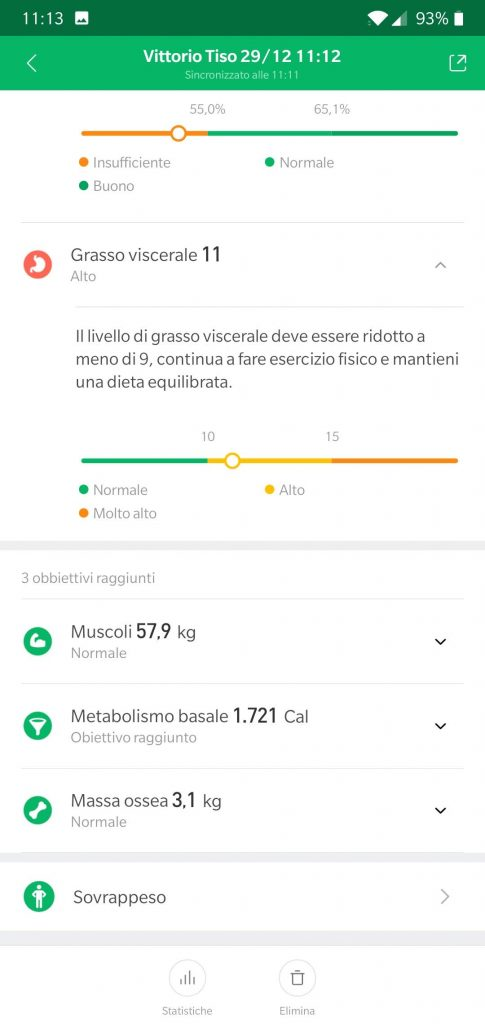 Recensione Xiaomi Mi Body Composition Scale mi fit dati 3