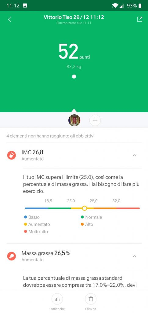 Recensione Xiaomi Mi Body Composition Scale - mi fiti dati 1