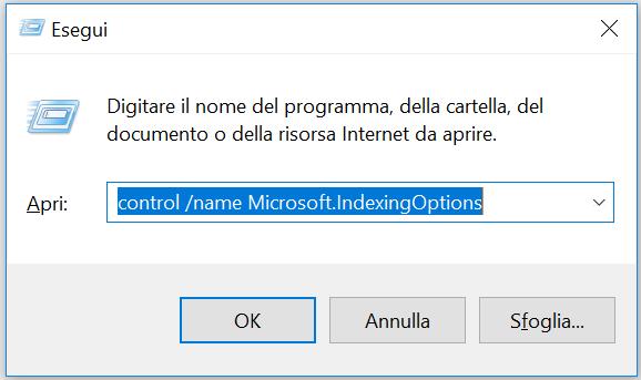 barra di ricerca windows 10 con cortana - Ricostruire l'indice dei file - passo 1