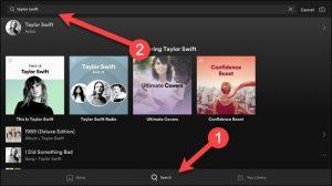 La schermata di Spotify