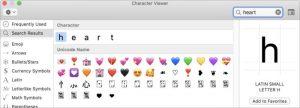 La casella per cercare un carattere nei Mac