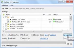 La schermata di Android SDK Manager
