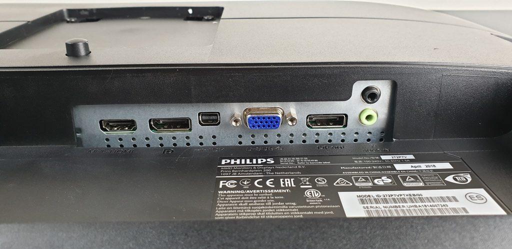 monitor Philips 272P7VPTKEB - porte e connessioni