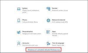 Una schermata del menu di Windows