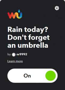 applet ifttt per sapere se oggi pioverà